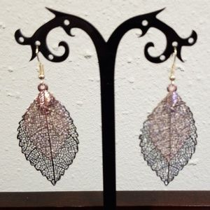 LZHLQ Vintage Leaves Drop Black and Gold  Earring